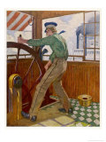 Mark Twain (Samuel L Clemens) as a River-Pilot on the Mississippi Giclee Print by Sidney Riesenberg