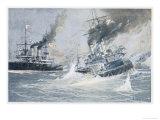 Battle of Tsushima Strait the Sinking of the Russian Battleship Navarin Premium Giclee Print by C. Schon