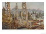 Oil Wells at Los Angeles Giclee Print by A. Muchton