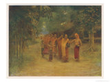 Group of Monks Pass Through a Burmese Village Begging for Food Giclee Print by J. Raeburn Middleton