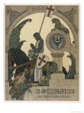 Saint George Praying after Slaying the Dragon Giclee Print by Heinrich Lefler
