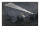 German Zeppelin Airship is Picked out in the Night Sky by a Searchlight from a Fort Giclee Print by Malfroy