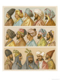 Asian Headwear Including Various Turbans Giclee Print by Racinet