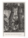 He Pulls Down the Columns of the Philistines' Temple Giclee Print by A. Romanet