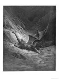 Satan Shown as the Fallen Angel after Having Been Smitten by Michael Giclee Print by Piaud