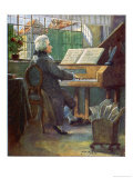 Wolfgang Amadeus Mozart the Austrian Composer Playing the Harpsichord Giclee Print by Otto Nowak