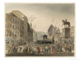 Two Offenders Stand in the Pillory at Charing Cross London Giclee Print by Rowlandson & Pugin