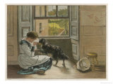 Weeping Girl Attracts the Sympathy of Her Dog Giclee Print by John Henry