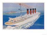 Passenger Liner of the Cunard White Star Line She Held the Blue Riband for 21 Years Giclee Print by Harry Payne