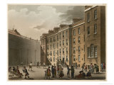 Prisoners in the Courtyard Exercising and Playing Racquets Giclee Print by Rowlandson & Pugin