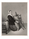 Flemish Housewife at Her Elaborate and Elegant Spinning Wheel Giclee Print by Harry Payne