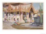 Burmese Women at Prayer on the Platform of the Pagoda at Prome Lower Burma Giclee Print by R. Talbot Kelly