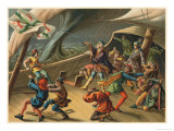 Columbus Exorcises a Waterspout Whilst on Board His Ship During a Storm Giclee Print by Planetta