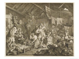 Strolling Players Rehearsing in a Barn Giclee Print by William Hogarth