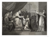 King John Offers His Crown Symbolic of the Kingdom to the Papal Legate Giclee Print by J. Rogers