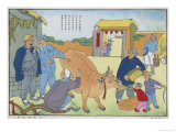 China Land Reform of 1951, a New Ox on the Communal Farm Giclee Print by Li Ko-jan