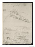 Sketch of a Design for a Flying Machine Premium Giclee Print by  Leonardo da Vinci