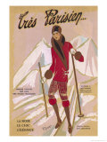 What the Elegant Frenchwoman is Wearing on the Slopes This Winter Giclee Print by G.p. Joumard