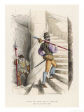 French Officier des Gardes Making the Rounds of a Chateau Giclee Print by F. Philippoteaux