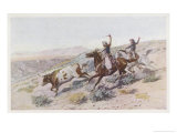 At Work on the Big Dry Montana Giclee Print by Charles Marion Russell