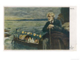 Giuseppe Verdi the Italian Opera Composer in Old Age with a Gondola on the Water in the Background Giclee Print by R. Konopa