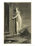 Girl in Her Nightie Walks on the Window-Ledge Giclee Print by Max Pirner