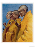 "Tibetan ""Yellow Monks"" Using Prayer Wheels Giclee Print by Henry Savage Landor"