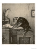 An Extremely Talented Aspiring Monkey Artist Sketches a Less Fortunate Fellow Monkey Giclee Print by  Pirodon