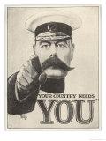 Alfred Leeze - Your Country Needs You, Featuring Lord Kitchener Digitálně vytištěná reprodukce