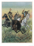 Native Americans Hunting Buffalo Giclee Print by Oswald Levens