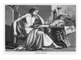 Aristotle Greek Philosopher as a Young Man Reading at His Desk Premium Giclee Print by C. Laplante