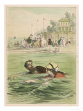 Couple Swim Side by Side off the Beach at Santander Spain Giclee Print by D. Eusebio Planas