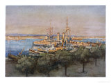 """Hms """"Queen"""" Trawlers and Drifters at Taranto Italy Giclee Print by Donald Maxwell"""