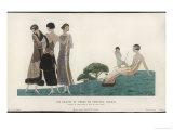 Fur Trimmed Coat and 3 Evening Dresses by Paul Poiret Reproduction procédé giclée par A.e. Marty