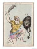 Orion Giant Hunter Clubbing a Lion Giclee Print by Sidney Hall
