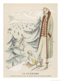 Fashionable Woman and Her Child Watch an Ice Skater Giclee Print by Madeleine Ruegg