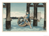 Japanese Boating Party, a Boatman Carries Two Ladies to an Island Giclee Print by Kuniyoshi