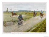 German Military Cyclist Proves That He Can Outpace a Group of Dragoons Giclee Print by R Knoetel