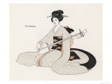 Japanese Musician Plays the Samisen Giclée-Druck von R. Halls