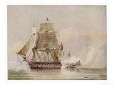 Naval Action off Candia Engagement Between the British Warship Leander and the French Le Genereux Giclee Print by C.h. Seaforth