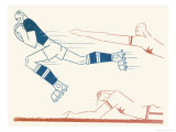 Dynamic Rugby Player Surges Forward Giclee Print by Moller 