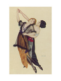 Two Stylishly Dressed Ladies Dance the Tango Stylishly Together Giclee Print by Raphael Kirchner