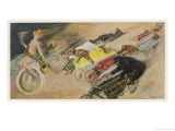 The Chase!, a Symbolic Depicting of the Immense Enthusiasm for Motor Racing Giclee Print by Johann Martini