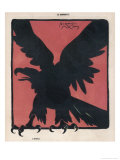 The Black Silhouette of an Eagle Against a Strong Red Background Giclee Print by Jacques Nam