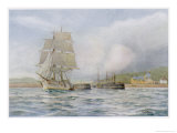 Two-Masted Sailing Ship Sails out of the Harbour at Bridport Dorset Giclee Print by Maurice Randall