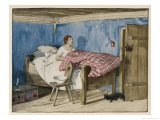 Young Woman is Woken up by a Cat Entering Her Bedroom Giclee Print by Karl H. Muller