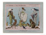 Women Model Fur Mantles Coats Shawls and Muffs and Pose with Various Animals Giclee Print by Jacques Nam