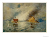 The Battle of Hampton Roads Giclee Print by E. Packbauer