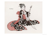 Japanese Musician Plays the Kokyu a String Instrument Played with a Bow Giclee Print by R. Halls