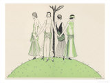 Four Ladies Holding Hands Wear Dresses Influenced by Ancient Egypt Giclee Print by A.e. Marty